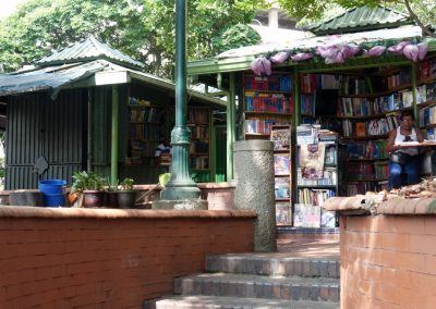 Cali Colombia: About 40 of these little book stalls in a church courtyard.
